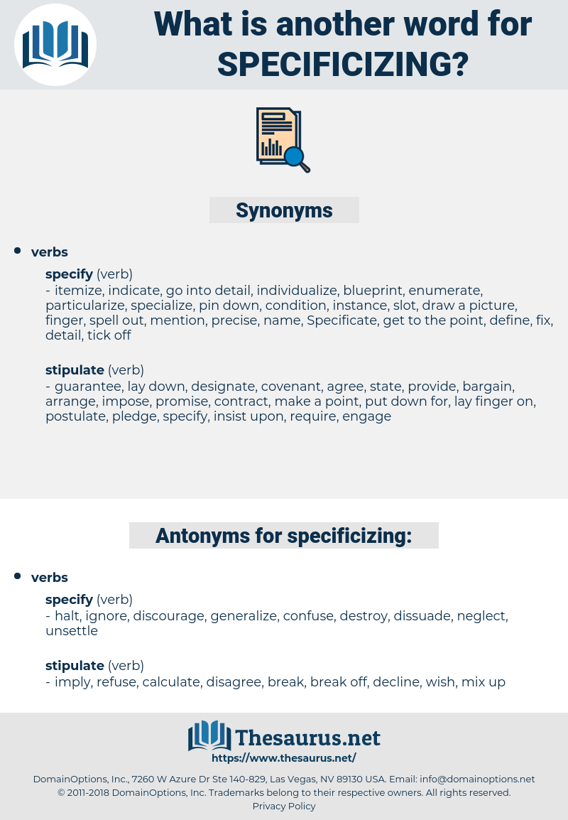 specificizing, synonym specificizing, another word for specificizing, words like specificizing, thesaurus specificizing