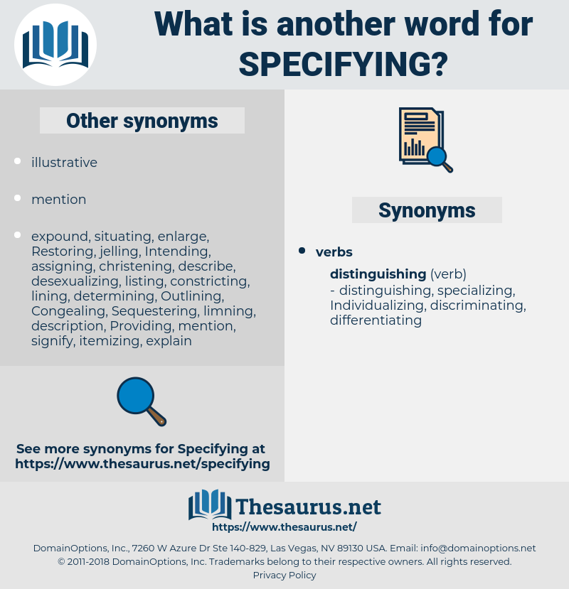 Specifying, synonym Specifying, another word for Specifying, words like Specifying, thesaurus Specifying