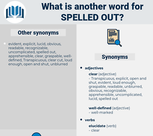 spelled out, synonym spelled out, another word for spelled out, words like spelled out, thesaurus spelled out