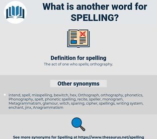 spelling, synonym spelling, another word for spelling, words like spelling, thesaurus spelling