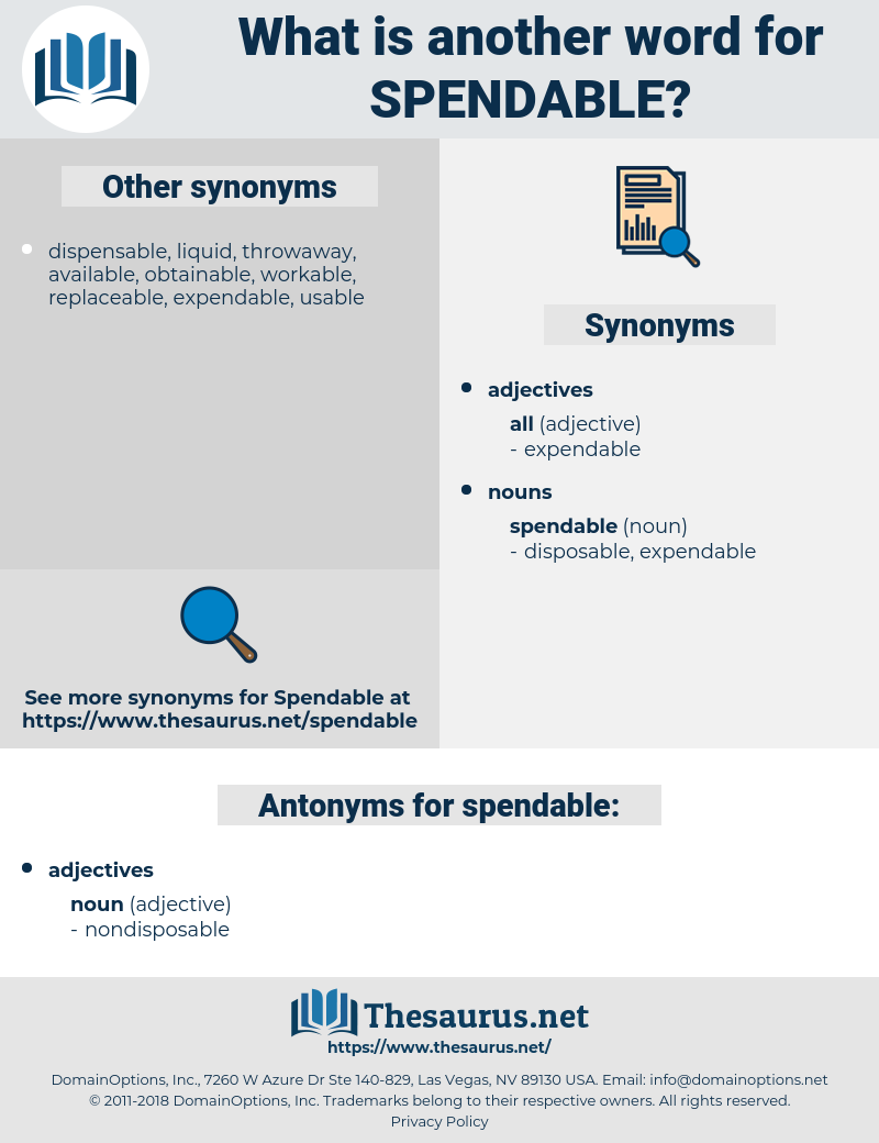 Synonyms for SPENDABLE, Antonyms for SPENDABLE - Thesaurus net