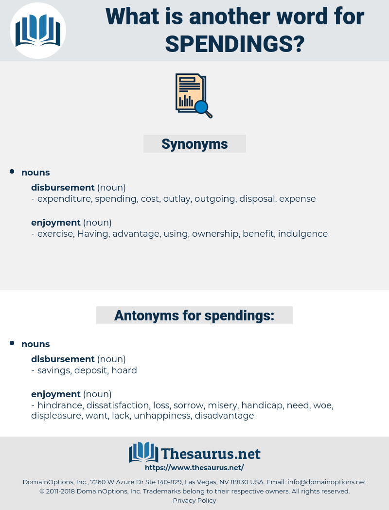 spendings, synonym spendings, another word for spendings, words like spendings, thesaurus spendings