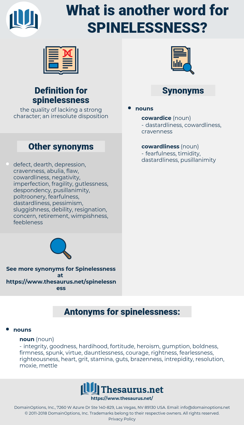 spinelessness, synonym spinelessness, another word for spinelessness, words like spinelessness, thesaurus spinelessness