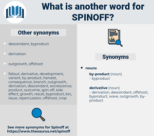 spinoff, synonym spinoff, another word for spinoff, words like spinoff, thesaurus spinoff
