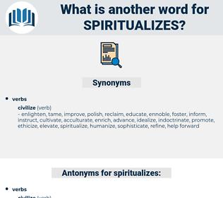spiritualizes, synonym spiritualizes, another word for spiritualizes, words like spiritualizes, thesaurus spiritualizes