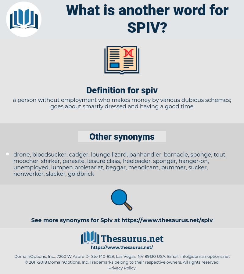 spiv, synonym spiv, another word for spiv, words like spiv, thesaurus spiv