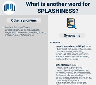 splashiness, synonym splashiness, another word for splashiness, words like splashiness, thesaurus splashiness