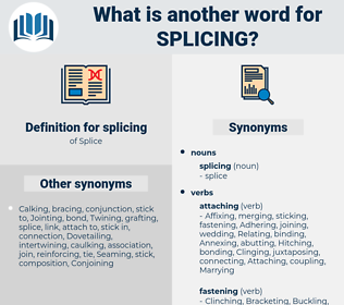 splicing, synonym splicing, another word for splicing, words like splicing, thesaurus splicing