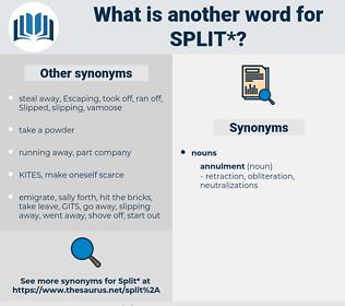 split, synonym split, another word for split, words like split, thesaurus split