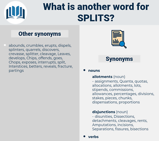 splits, synonym splits, another word for splits, words like splits, thesaurus splits