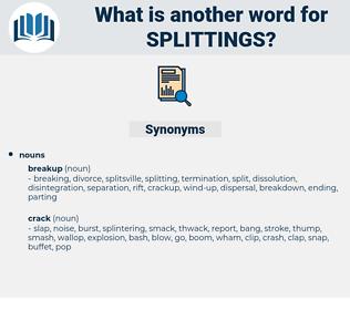 splittings, synonym splittings, another word for splittings, words like splittings, thesaurus splittings