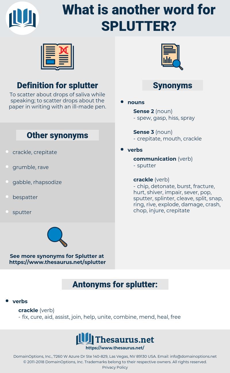 splutter, synonym splutter, another word for splutter, words like splutter, thesaurus splutter