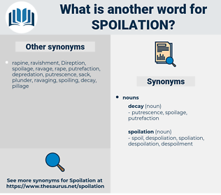 spoilation, synonym spoilation, another word for spoilation, words like spoilation, thesaurus spoilation
