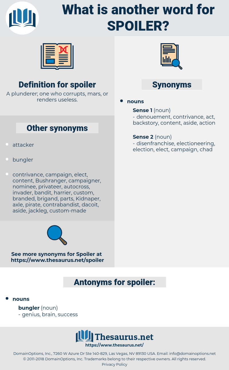 spoiler, synonym spoiler, another word for spoiler, words like spoiler, thesaurus spoiler