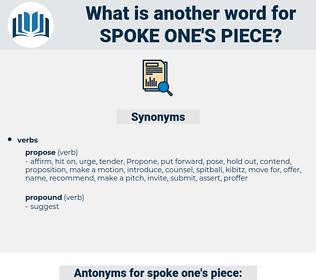 spoke one's piece, synonym spoke one's piece, another word for spoke one's piece, words like spoke one's piece, thesaurus spoke one's piece