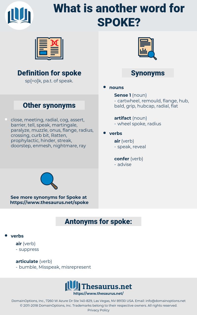 spoke, synonym spoke, another word for spoke, words like spoke, thesaurus spoke