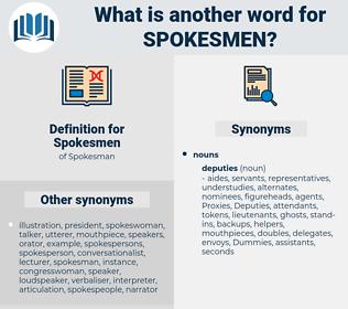 Spokesmen, synonym Spokesmen, another word for Spokesmen, words like Spokesmen, thesaurus Spokesmen