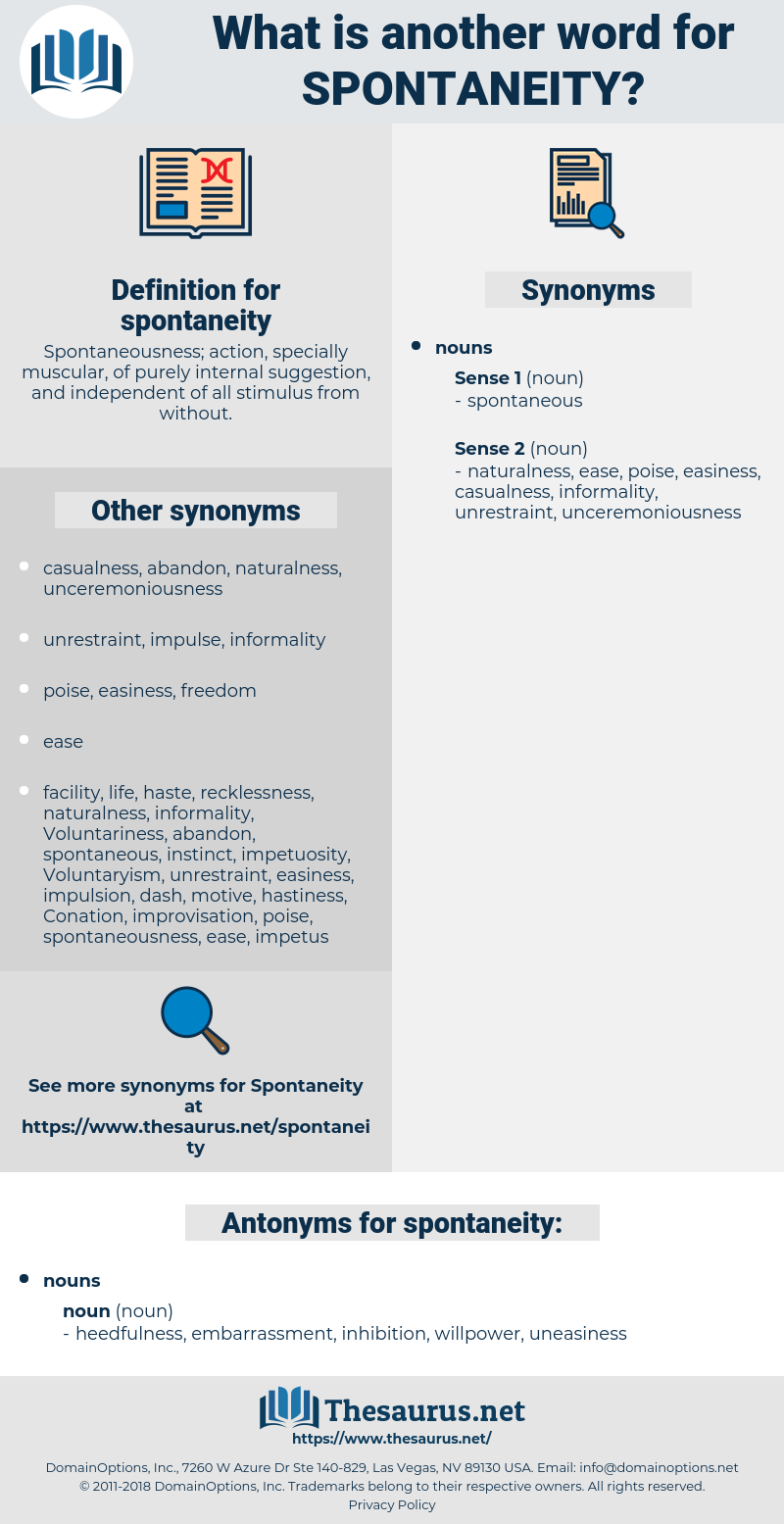 spontaneity, synonym spontaneity, another word for spontaneity, words like spontaneity, thesaurus spontaneity