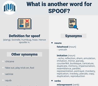 spoof, synonym spoof, another word for spoof, words like spoof, thesaurus spoof