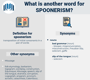 spoonerism, synonym spoonerism, another word for spoonerism, words like spoonerism, thesaurus spoonerism
