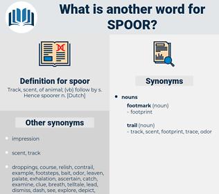 spoor, synonym spoor, another word for spoor, words like spoor, thesaurus spoor