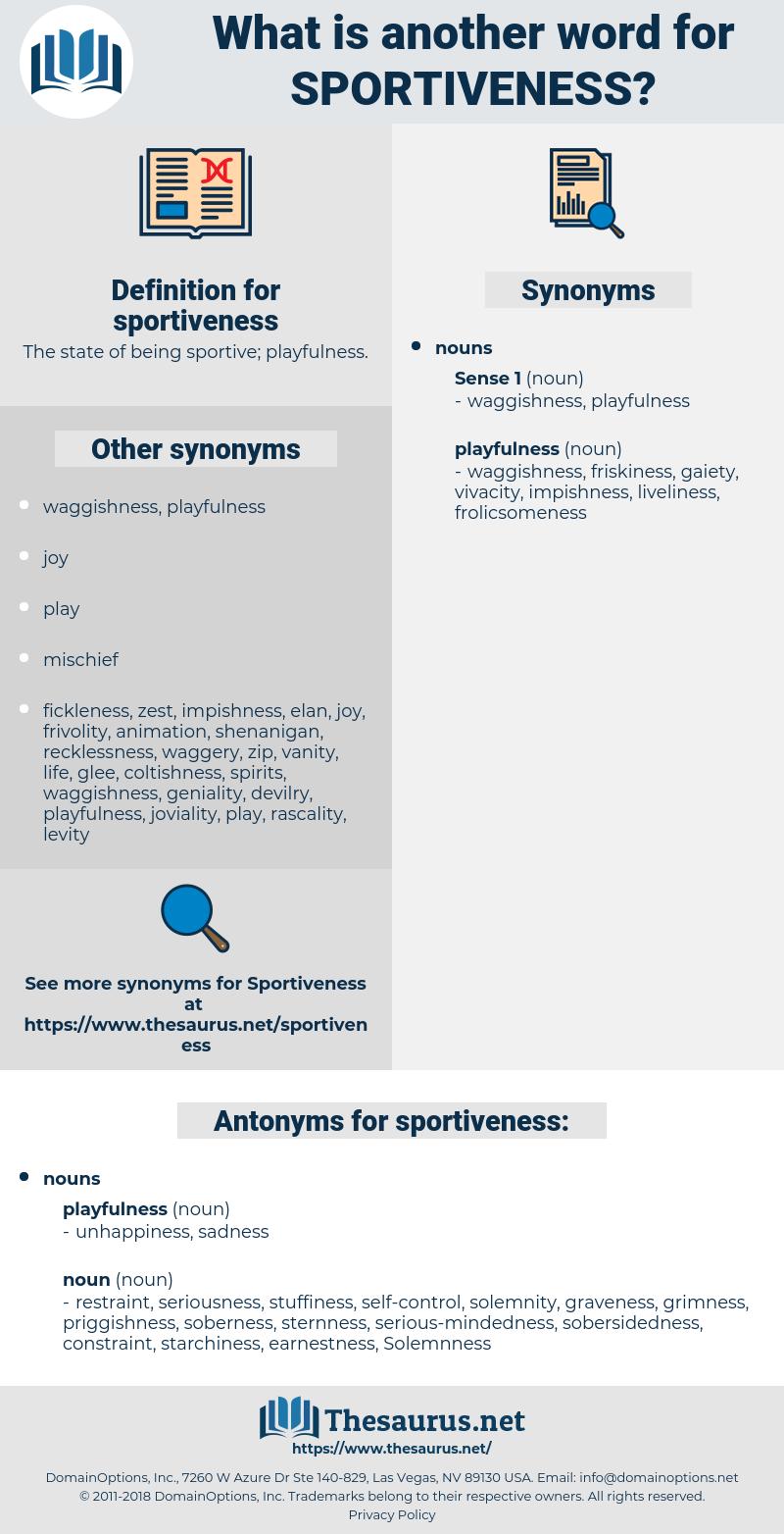 sportiveness, synonym sportiveness, another word for sportiveness, words like sportiveness, thesaurus sportiveness