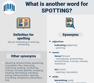 spotting, synonym spotting, another word for spotting, words like spotting, thesaurus spotting