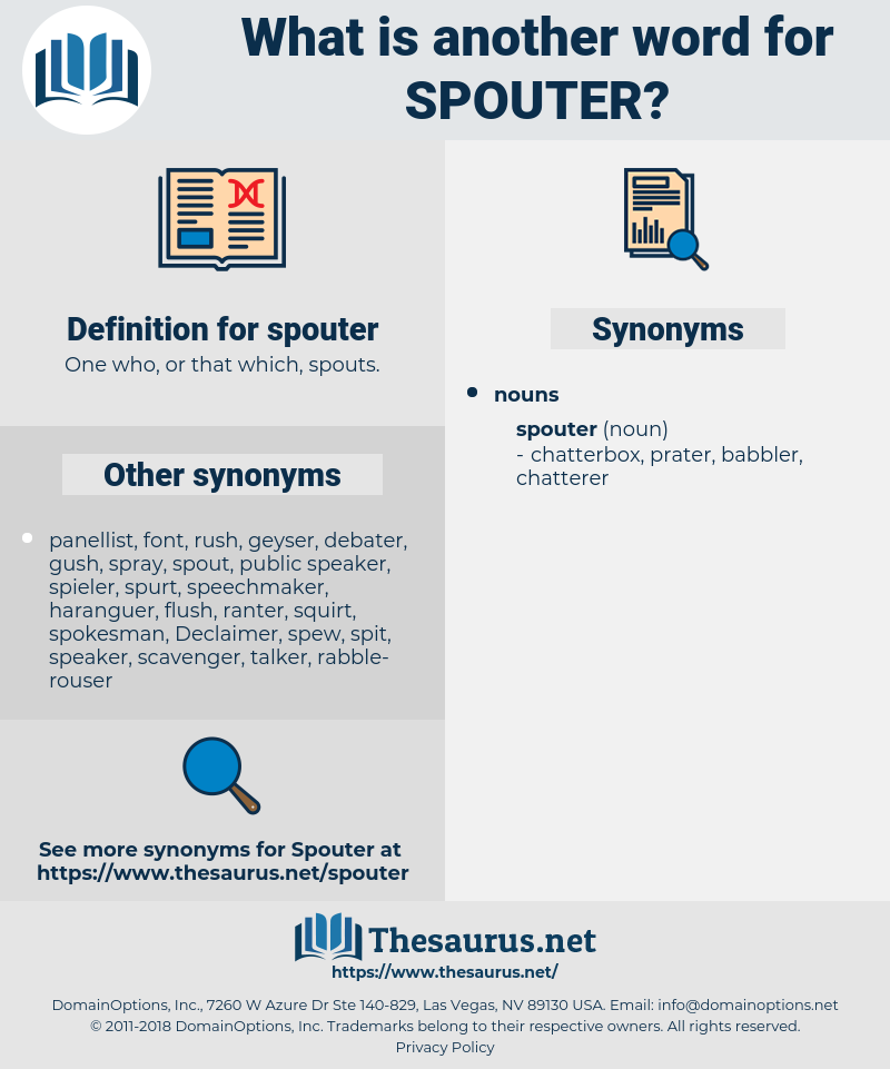 spouter, synonym spouter, another word for spouter, words like spouter, thesaurus spouter