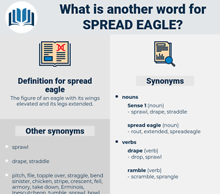 spread eagle, synonym spread eagle, another word for spread eagle, words like spread eagle, thesaurus spread eagle