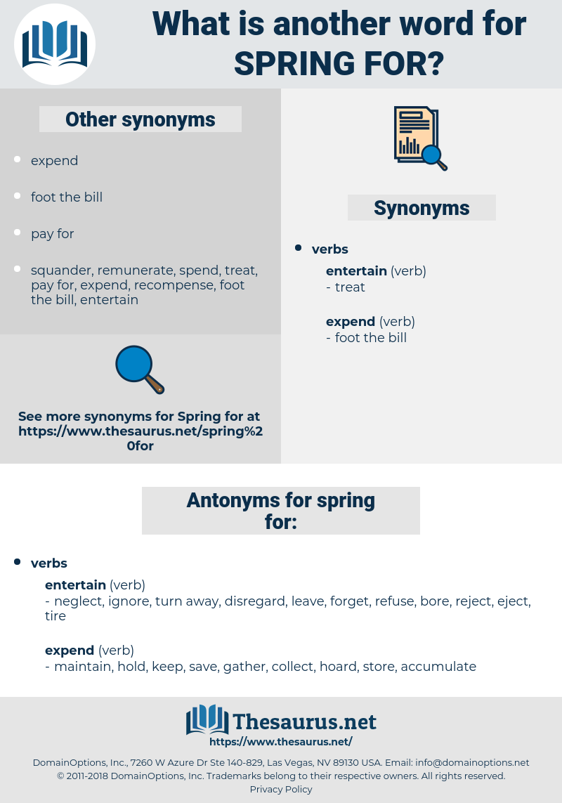 spring for, synonym spring for, another word for spring for, words like spring for, thesaurus spring for