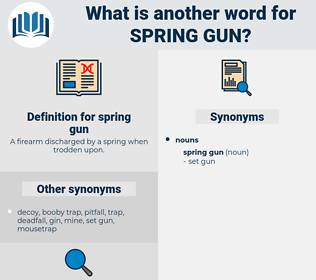 spring gun, synonym spring gun, another word for spring gun, words like spring gun, thesaurus spring gun