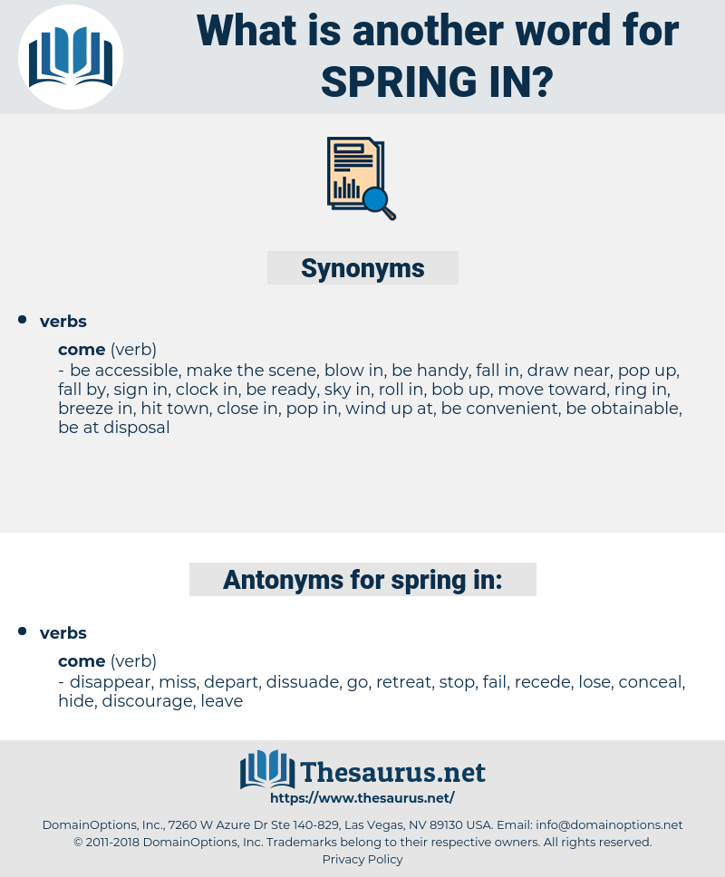 spring in, synonym spring in, another word for spring in, words like spring in, thesaurus spring in
