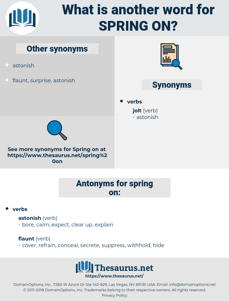 spring on, synonym spring on, another word for spring on, words like spring on, thesaurus spring on