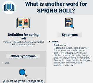 spring roll, synonym spring roll, another word for spring roll, words like spring roll, thesaurus spring roll