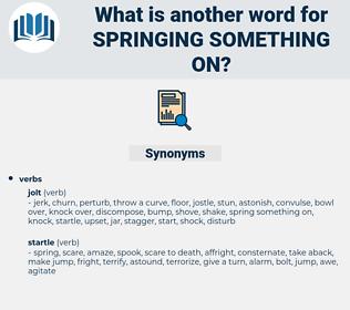 springing something on, synonym springing something on, another word for springing something on, words like springing something on, thesaurus springing something on