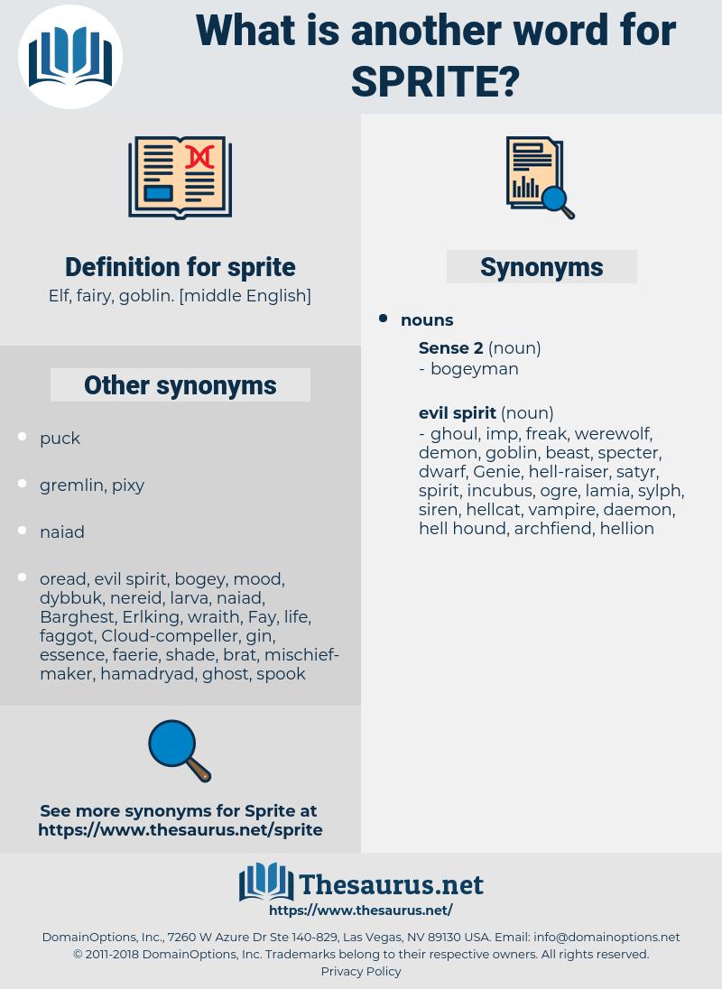 sprite, synonym sprite, another word for sprite, words like sprite, thesaurus sprite