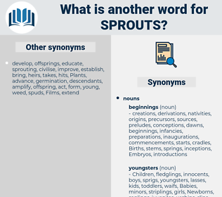 sprouts, synonym sprouts, another word for sprouts, words like sprouts, thesaurus sprouts
