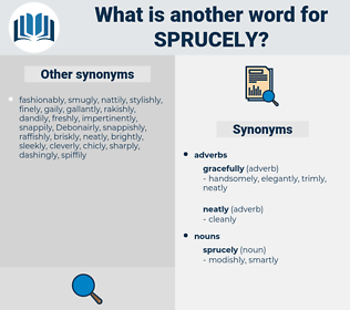 sprucely, synonym sprucely, another word for sprucely, words like sprucely, thesaurus sprucely