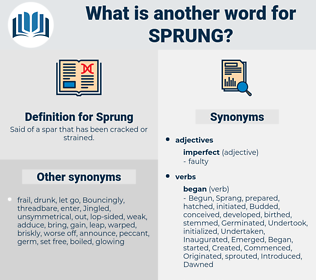 Sprung, synonym Sprung, another word for Sprung, words like Sprung, thesaurus Sprung