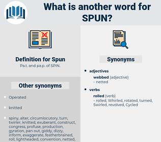 Spun, synonym Spun, another word for Spun, words like Spun, thesaurus Spun