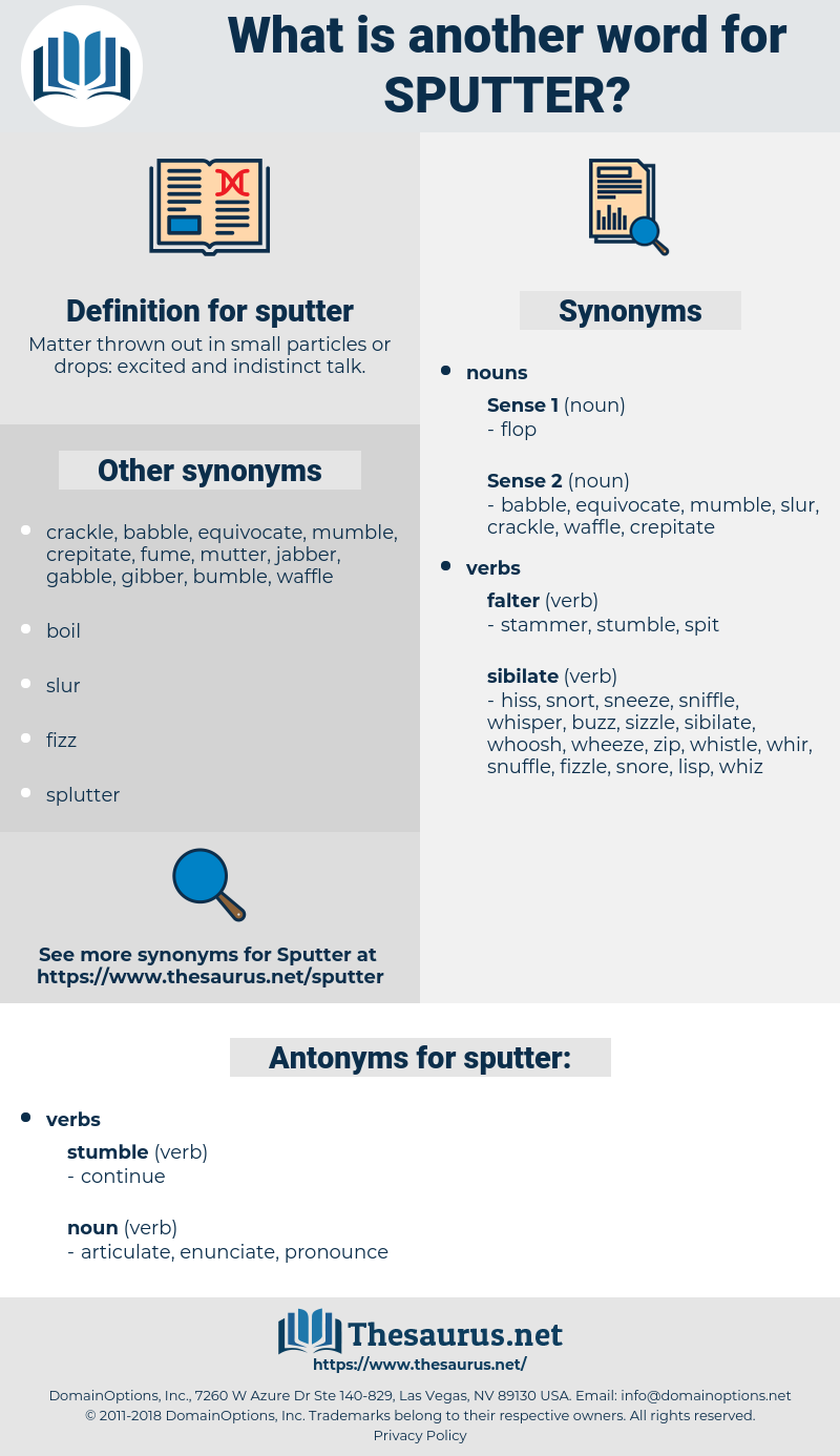 sputter, synonym sputter, another word for sputter, words like sputter, thesaurus sputter