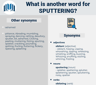 sputtering, synonym sputtering, another word for sputtering, words like sputtering, thesaurus sputtering