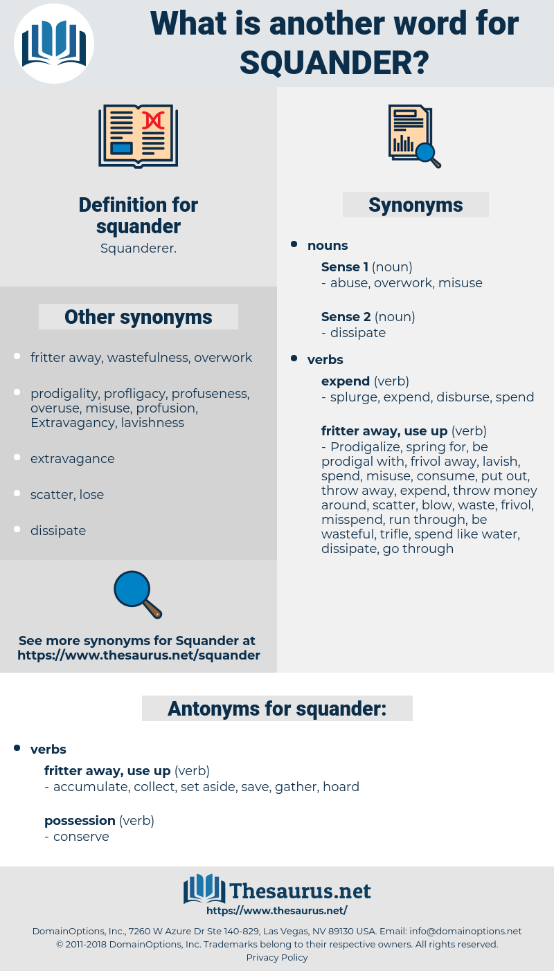squander, synonym squander, another word for squander, words like squander, thesaurus squander