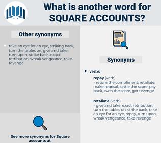 square accounts, synonym square accounts, another word for square accounts, words like square accounts, thesaurus square accounts