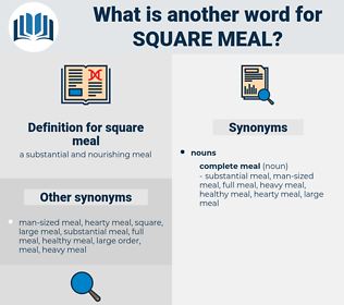 square meal, synonym square meal, another word for square meal, words like square meal, thesaurus square meal