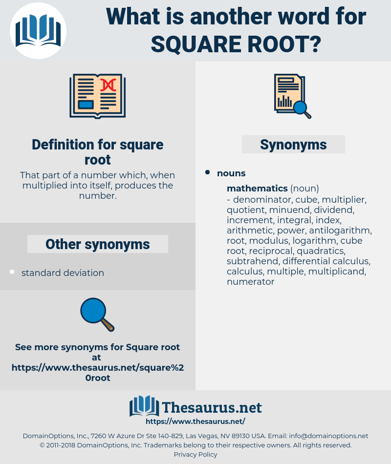 square root, synonym square root, another word for square root, words like square root, thesaurus square root
