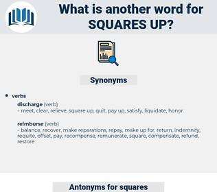 squares up, synonym squares up, another word for squares up, words like squares up, thesaurus squares up