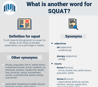 squat, synonym squat, another word for squat, words like squat, thesaurus squat