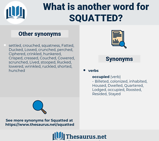 Squatted, synonym Squatted, another word for Squatted, words like Squatted, thesaurus Squatted
