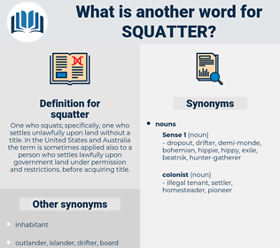 squatter, synonym squatter, another word for squatter, words like squatter, thesaurus squatter